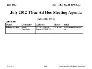 July 2012 TGac Ad Hoc Meeting Agenda
