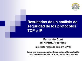 Resultados de un análisis de seguridad de los protocolos TCP e IP