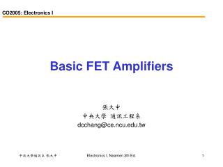 Basic FET Amplifiers