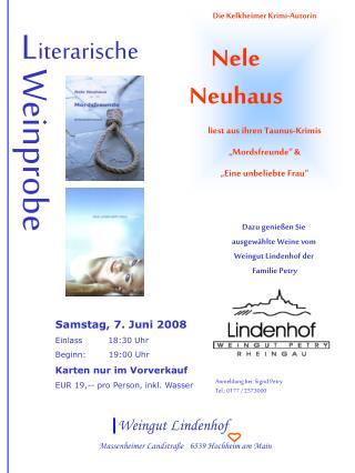 Die Kelkheimer Krimi-Autorin Nele Neuhaus liest aus ihren Taunus-Krimis �Mordsfreunde� &