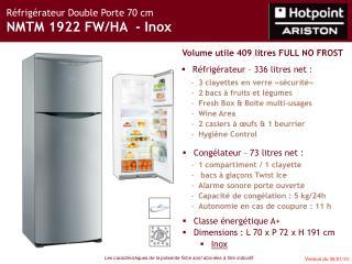 Réfrigérateur Double Porte 70 cm NMTM 1922 FW/HA  - Inox