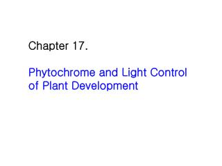 Chapter 17.  Phytochrome and Light Control  of Plant Development