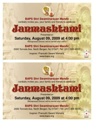BAPS Shri Swaminarayan Mandir cordially invites you, your family and friends to celebrate