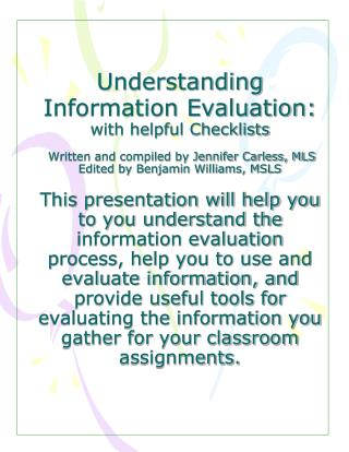 Why is the quality of the information you use important?