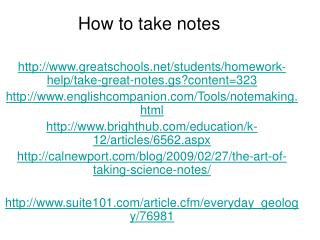 How to take notes