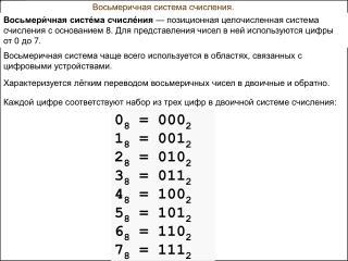 Восьмеричная система счисления.