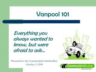 Vanpool 101