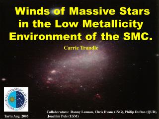 Winds of Massive Stars in the Low Metallicity  Environment of the SMC.