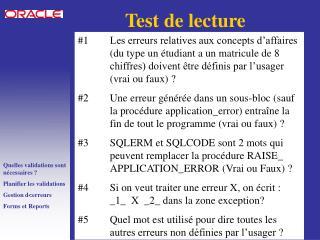 Test de lecture