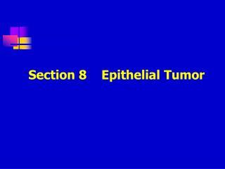 Section 8    Epithelial Tumor