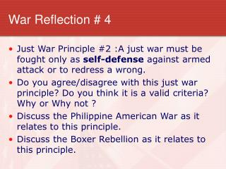 War Reflection # 4