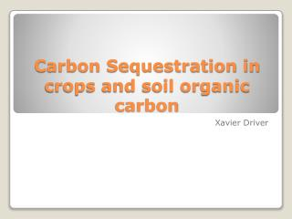 Carbon Sequestration in crops and soil organic carbon