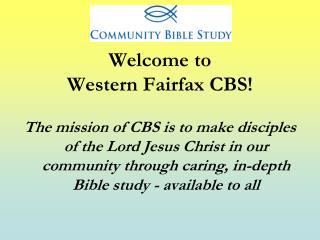 Welcome to  Western Fairfax CBS!