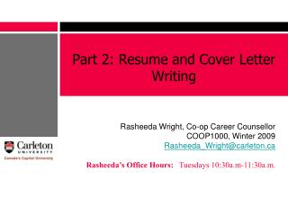Part 2: Resume and Cover Letter Writing