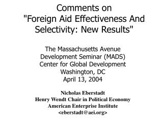 "Comments on  ""Foreign Aid Effectiveness And Selectivity: New Results"""