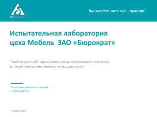 Испытательная лаборатория  цеха Мебель  ЗАО «Бюрократ»