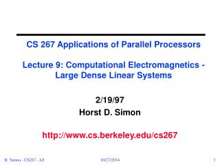 2/19/97 Horst D. Simon cs.berkeley/cs267