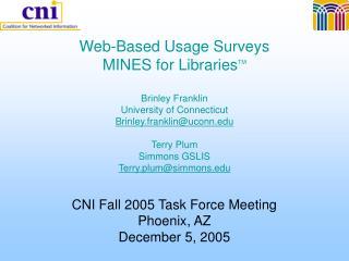 Web-Based Usage Surveys MINES for Libraries TM