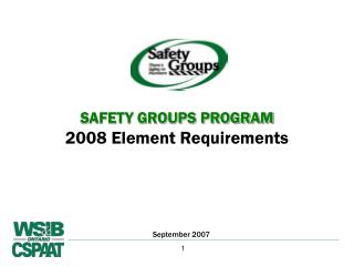 SAFETY GROUPS PROGRAM 2008 Element Requirements