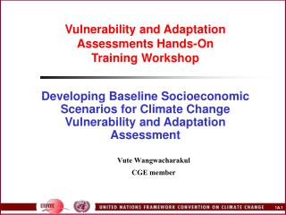 Vulnerability and Adaptation Assessments Hands-On  Training Workshop