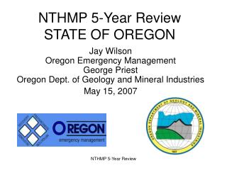 NTHMP 5-Year Review  STATE OF OREGON