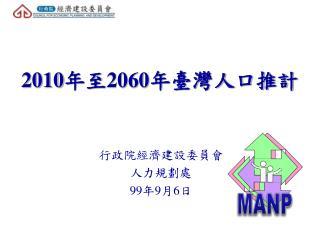 2010 年至 2060 年臺灣人口推計