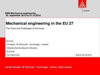 EMB Mechanical engineering   30. september 2010 to 01.10.2010