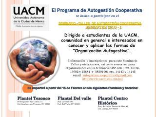 El Programa de Autogestión Cooperativa te Invita a participar en el
