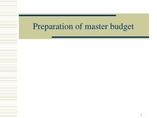 Preparation of master budget