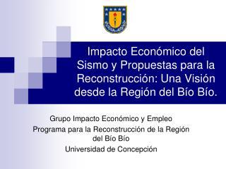 Grupo Impacto Económico y Empleo  Programa para la Reconstrucción de la Región del Bío Bío