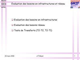Evaluation des besoins en infrastructures et réseau