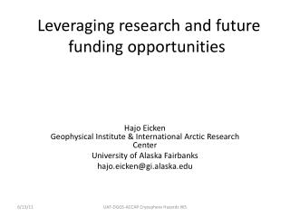 Leveraging research and future funding opportunities