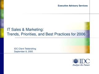 IT Sales & Marketing:  Trends, Priorities, and Best Practices for 2006
