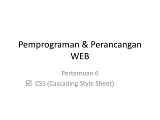 Pemprograman & Perancangan WEB