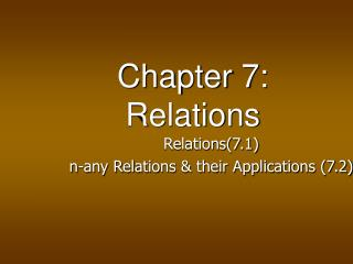 Chapter 7: Relations