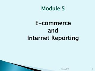 Module 5 E-commerce  and  Internet Reporting