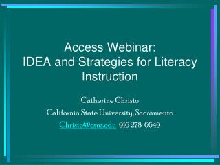 Access Webinar: IDEA and Strategies for Literacy Instruction