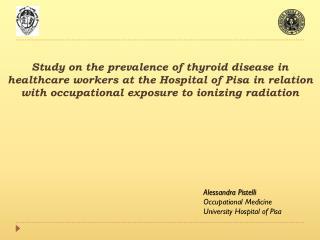 Alessandra  Pistelli Occupational  Medicine University  Hospital  of  Pisa