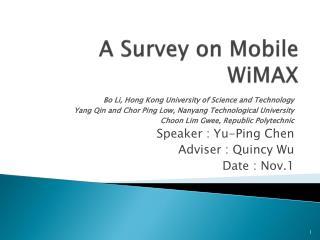 A Survey on Mobile  WiMAX
