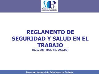 REGLAMENTO DE SEGURIDAD Y SALUD EN EL TRABAJO (D. S. 009-2005-TR. 29.9.05)