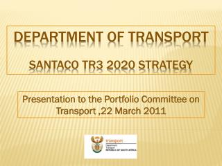 Department of transport SANTACO TR3 2020 STRATEGY