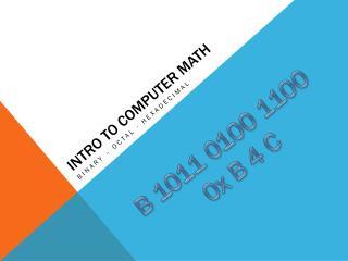 Intro to Computer Math