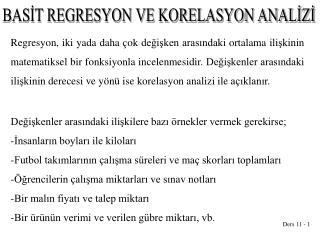 BASİT REGRESYON VE KORELASYON ANALİZİ