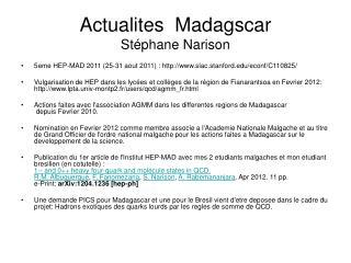 Actualites  Madagscar St�phane Narison