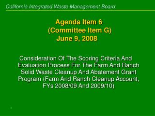 Agenda Item 6  Committee Item G  June 9, 2008
