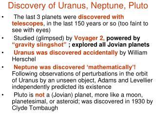 Discovery of Uranus, Neptune, Pluto