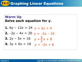 Warm Up Solve each equation for y. 1. 6 y  – 12 x  = 24 2. – 2 y  – 4 x  = 20 3.  2 y  – 5 x  = 16