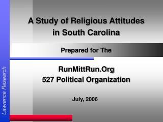 A Study of Religious Attitudes in South Carolina