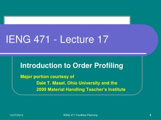IENG 471 - Lecture 17
