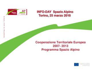 Cooperazione Territoriale Europea  2007- 2013  Programma Spazio Alpino